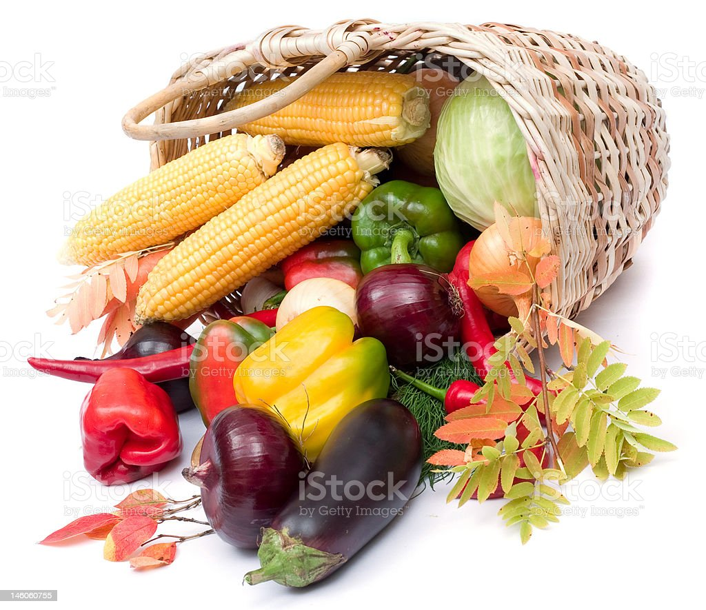colorful vegetables in basket stock photo