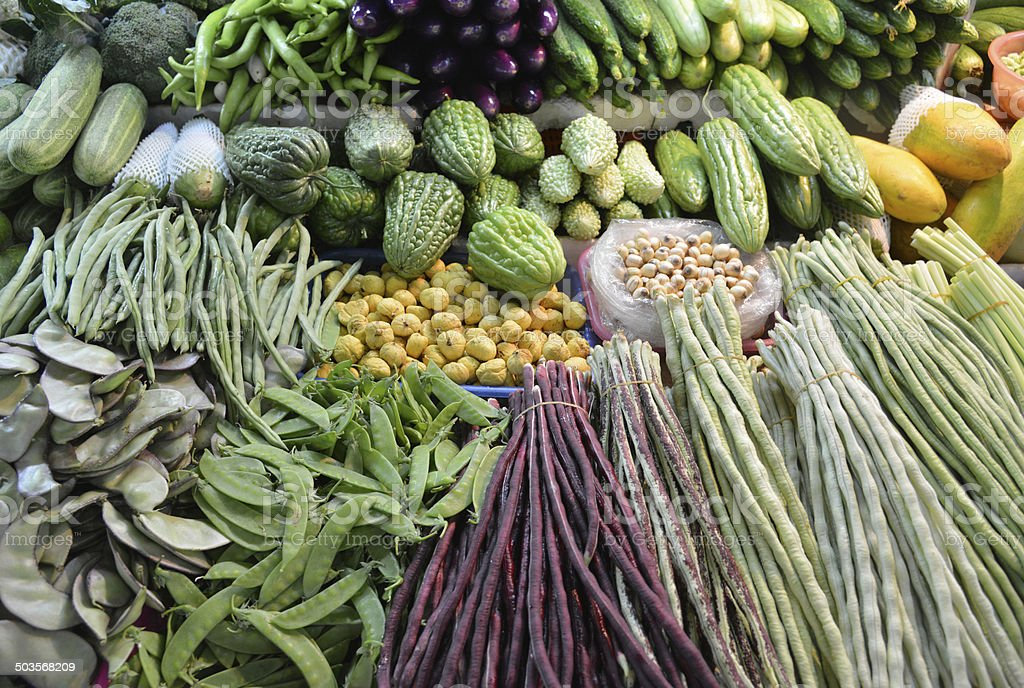 Colorful vegetables in the market stock photo