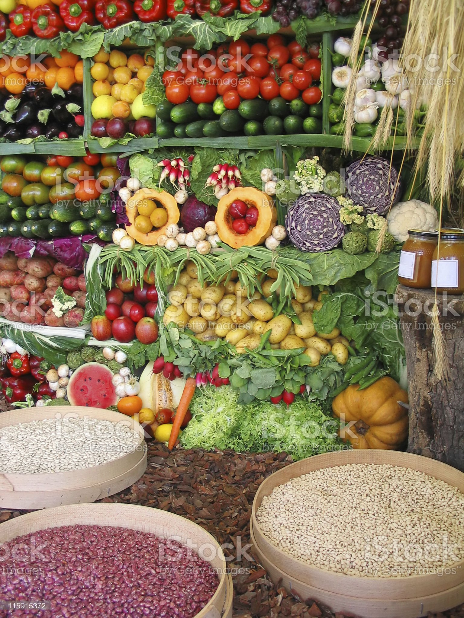 Colorful vegetables,fruits and beans royalty-free stock photo
