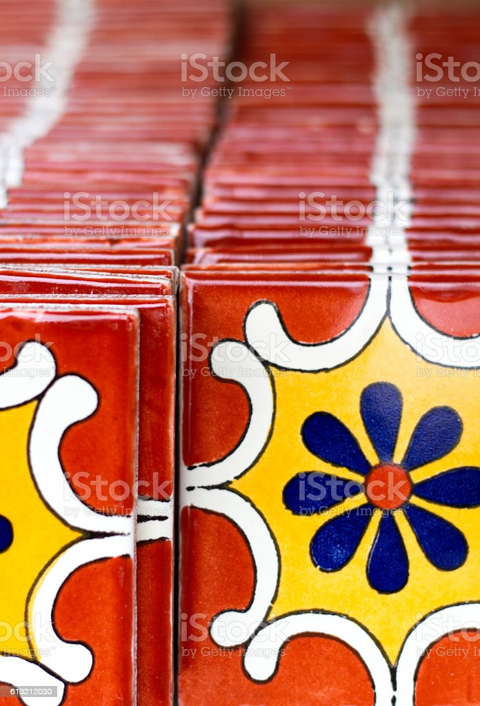 Colorful vibrant Geometric-Floral Mexican Tiles stock photo