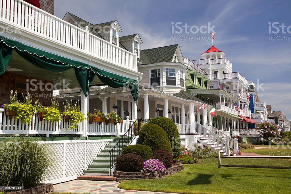 Colorful Victorian Houses in Cape May stock photo