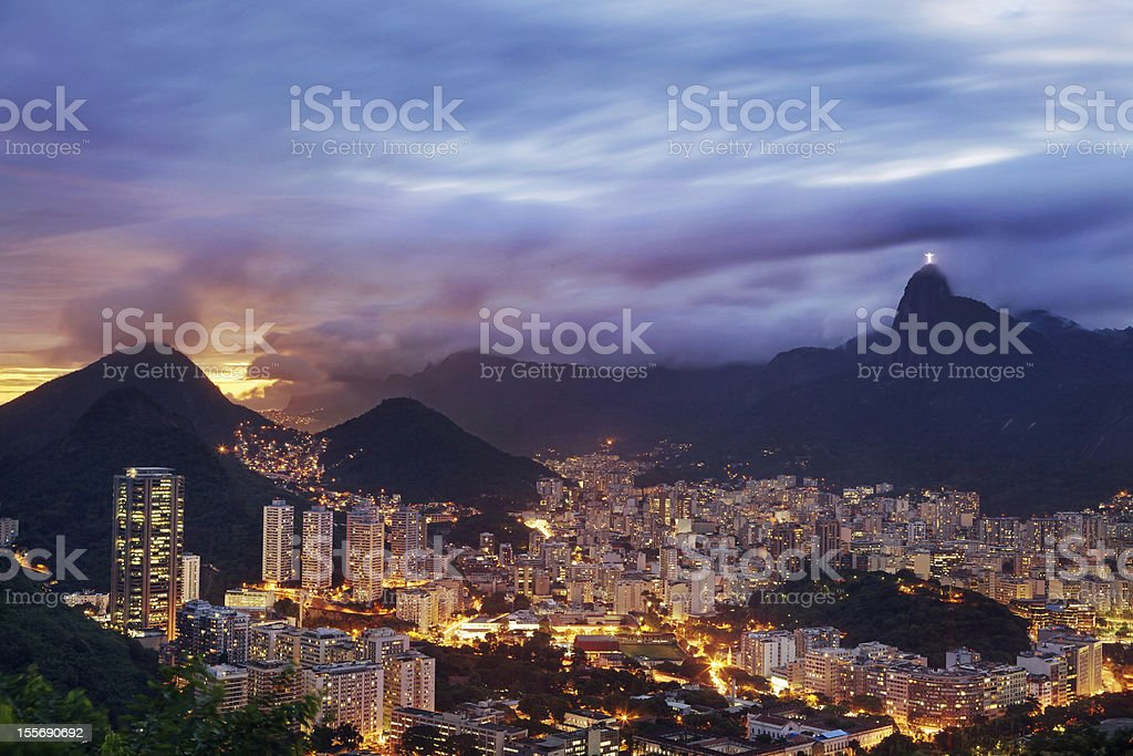 Colorful View of Rio de Janeiro at Sunset royalty-free stock photo