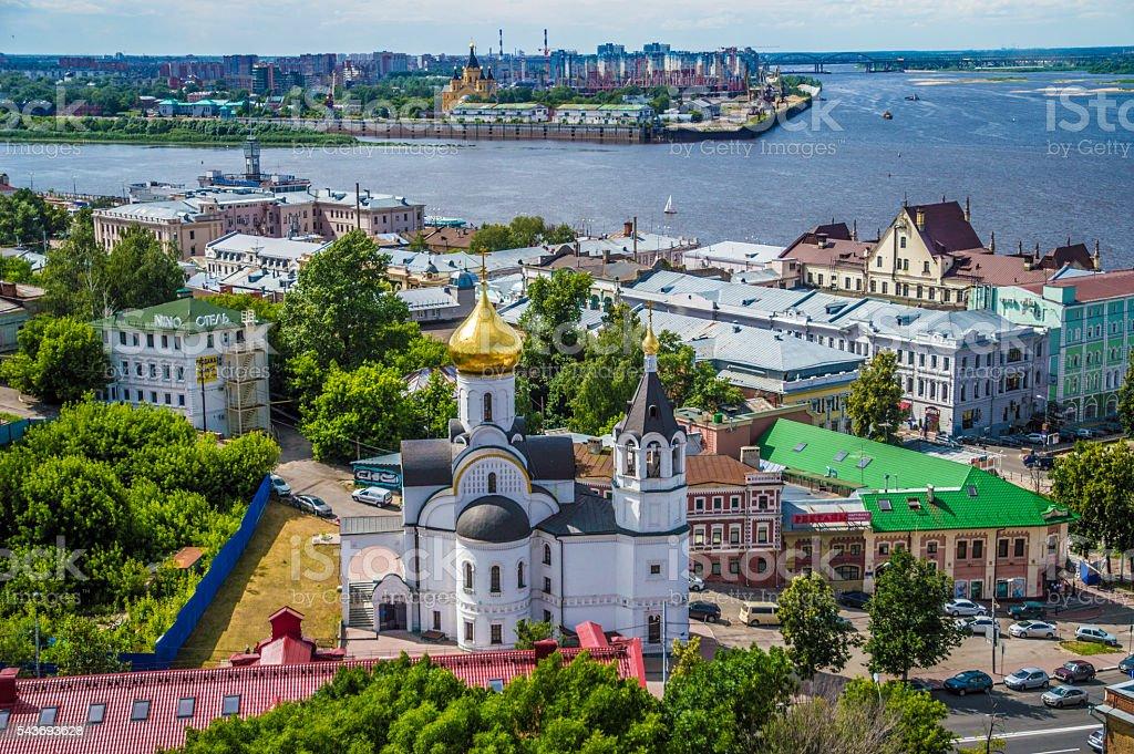 Colorful view of summer Nizhny Novgorod, Russia stock photo