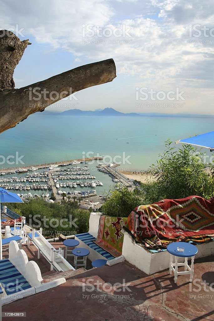 Colorful view on harbor stock photo