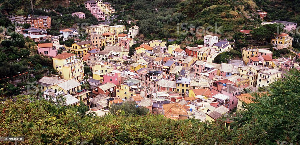 Colorful village of Monterosso - aerial view stock photo