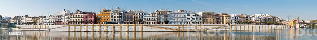 Colorful villas Seville Triana panorama stock photo