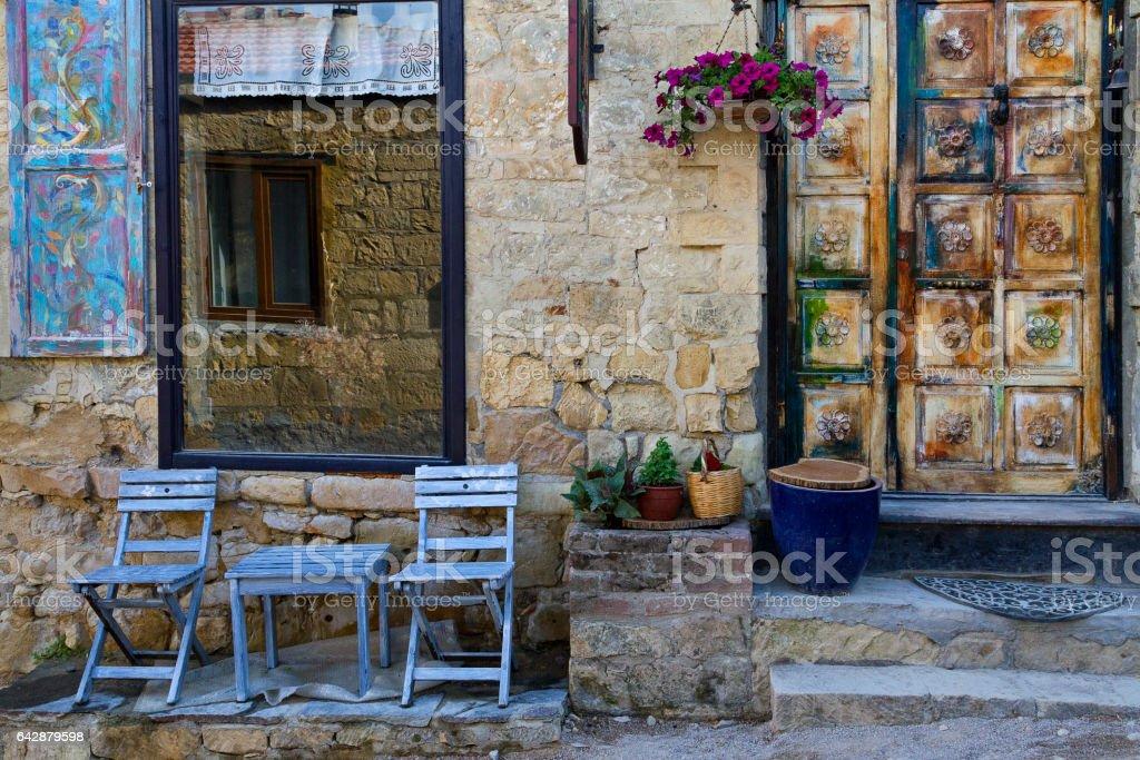 Colorful villlage house in Yesilyurt Village, Northern Aegean, Turkey stock photo