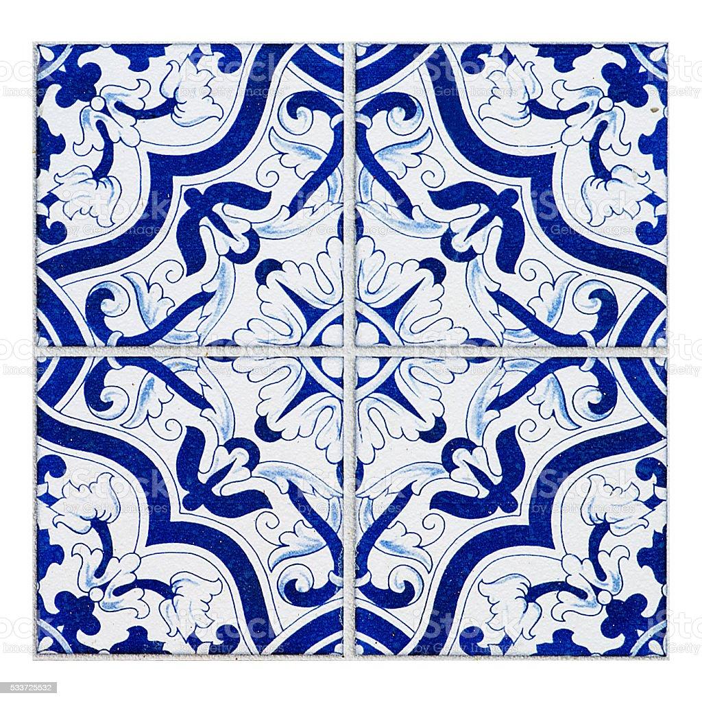 Colorful vintage ceramic tiles wall decoration.Turkish ceramic stock photo