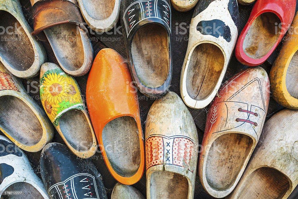 Colorful vintage Dutch wooden clogs stock photo