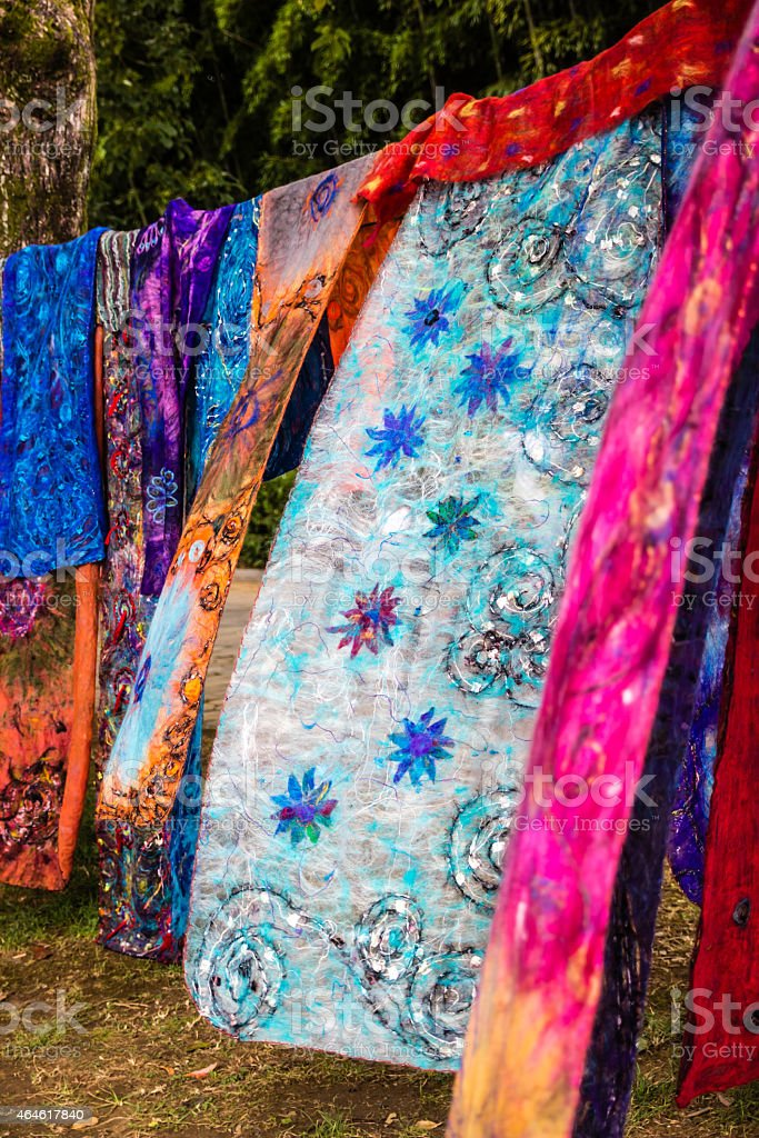 Colorful vintage shawls with floral and abstract patterns stock photo