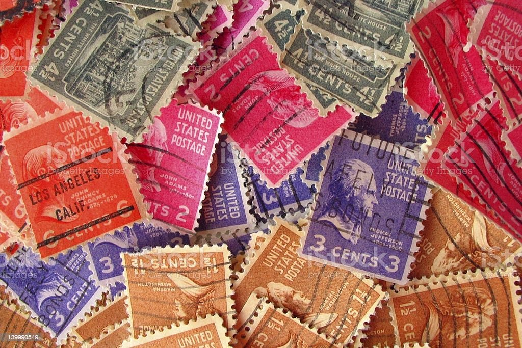 Colorful Vintage Stamps (III) royalty-free stock photo