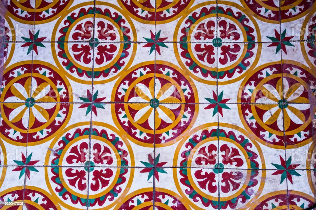 Colorful Vintage style floor tile pattern texture and background. stock photo