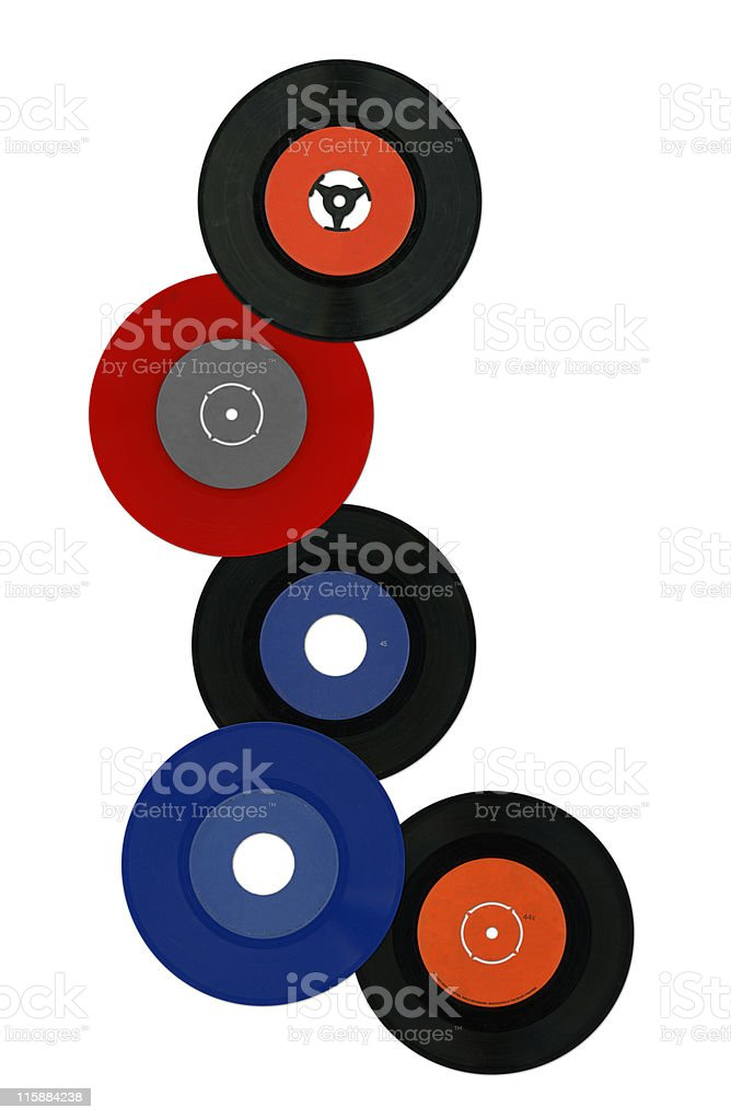 Colorful vinyl records royalty-free stock photo