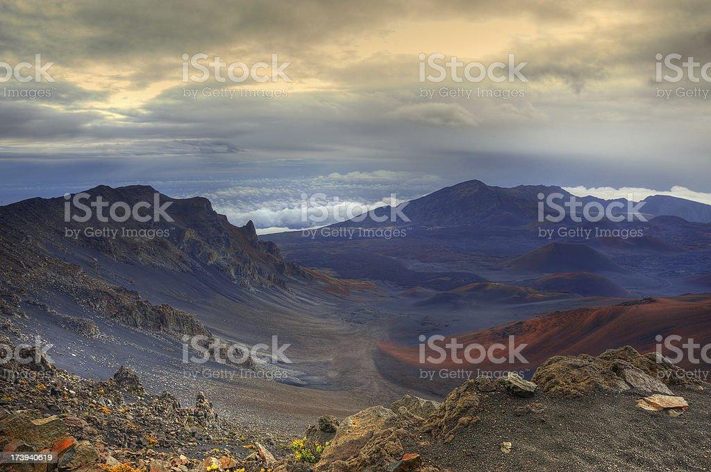 Colorful Volcanic Landscape On Maui's Mt. Haleakala stock photo