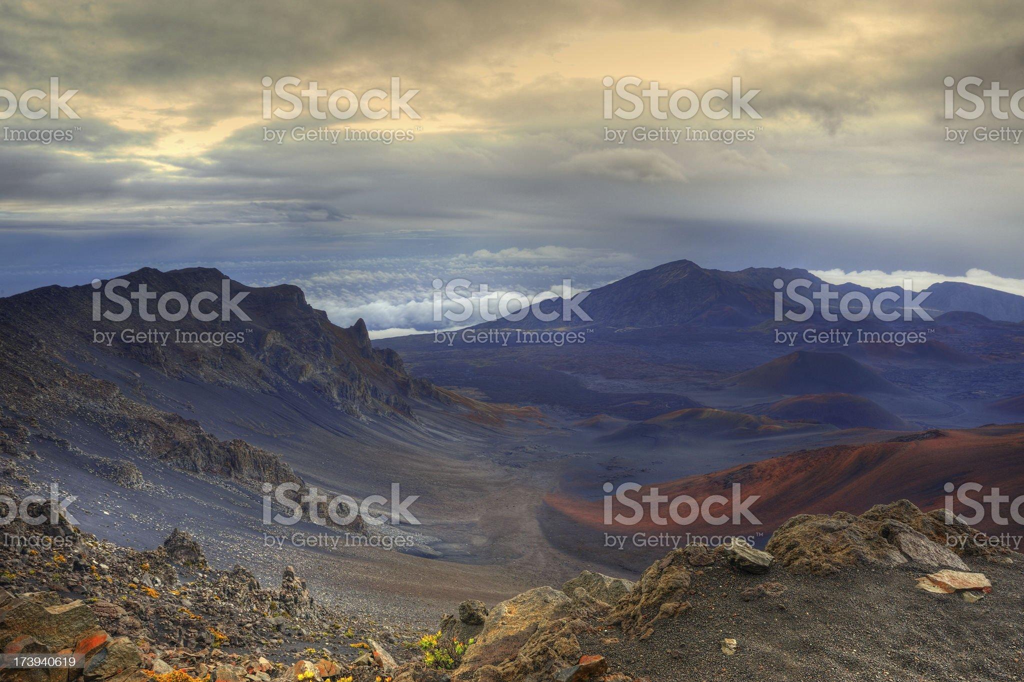 Colorful Volcanic Landscape On Maui's Mt. Haleakala royalty-free stock photo