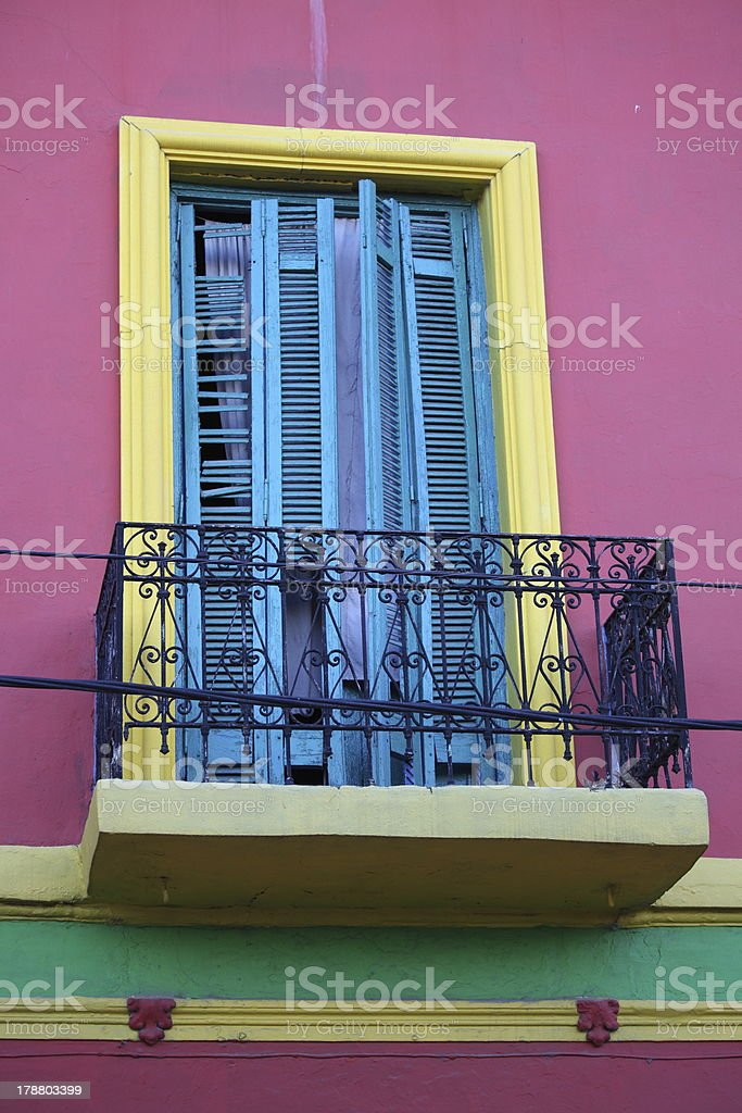 Colorful wall and balcony window royalty-free stock photo