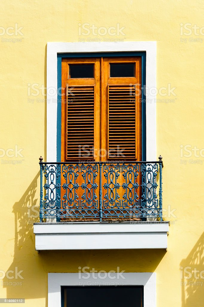 Colorful wall and window stock photo