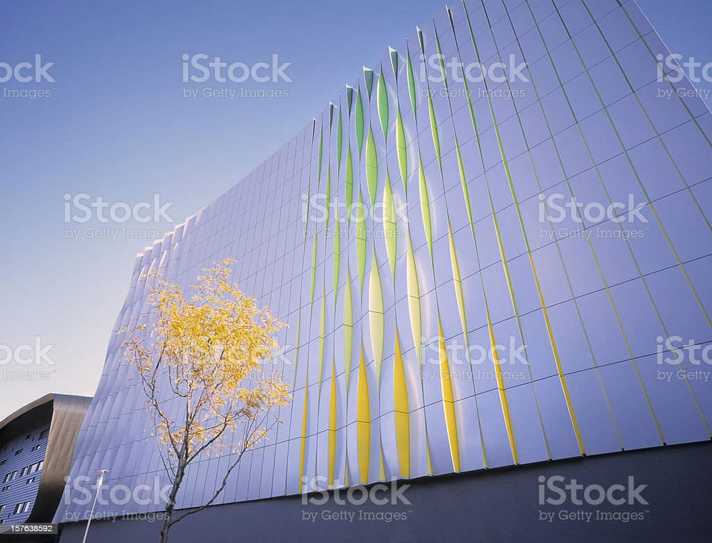 Colorful wall of modern office building. stock photo