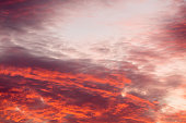 Colorful warm clouds on sky at sunset