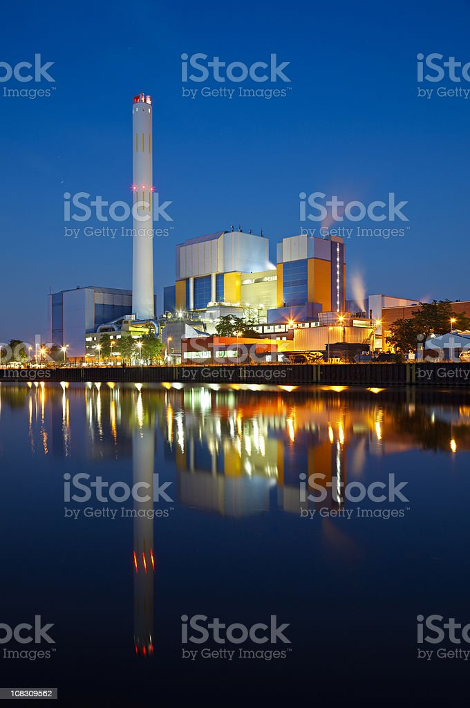 Colorful Waste Incineration Plant At Night stock photo