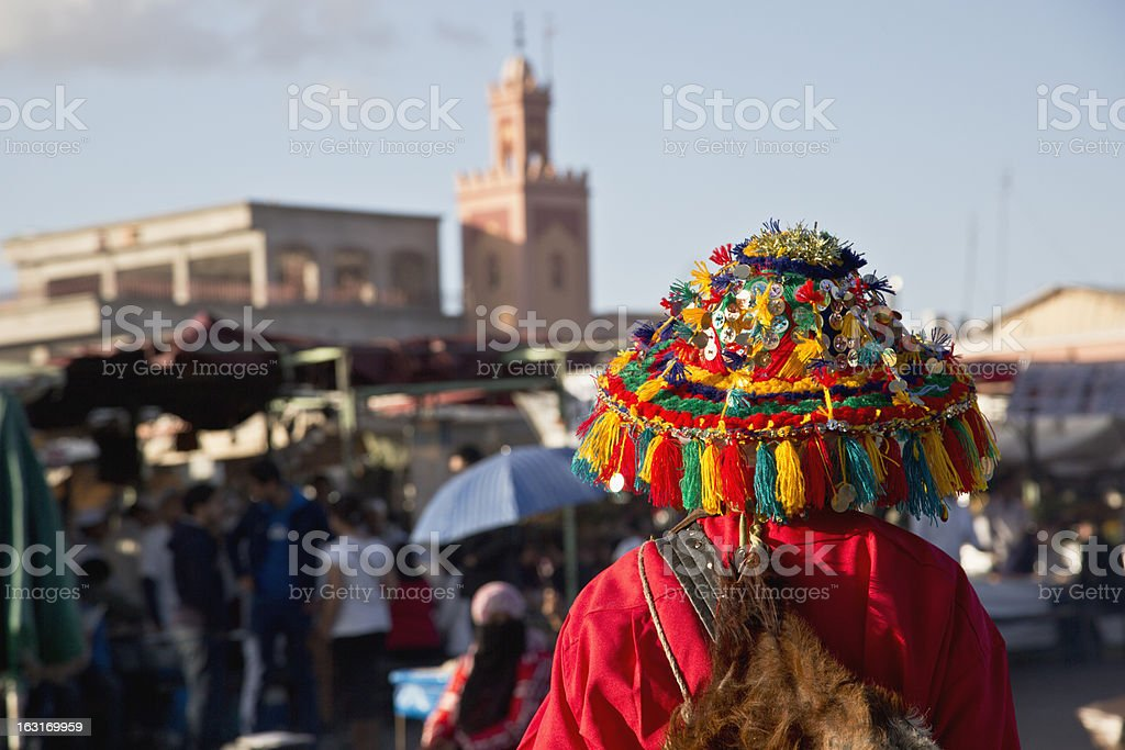 Colorful water bearer in main square of Marrakech royalty-free stock photo