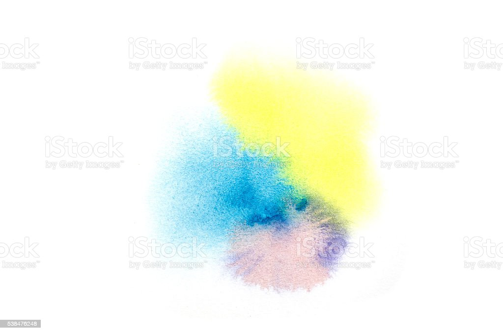 Colorful water color brush texture on white background stock photo