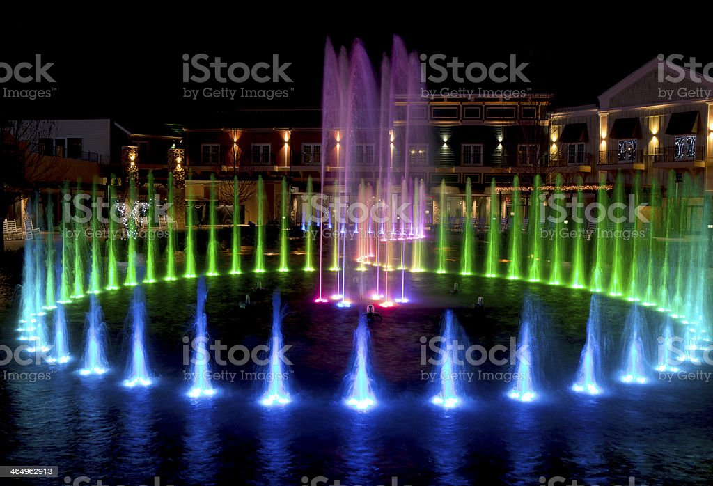 Colorful Water Fountain in Gatlinburg, Tennessee during the Christmas Holidays royalty-free stock photo