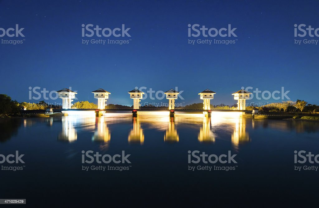 Colorful water gate at Night stock photo