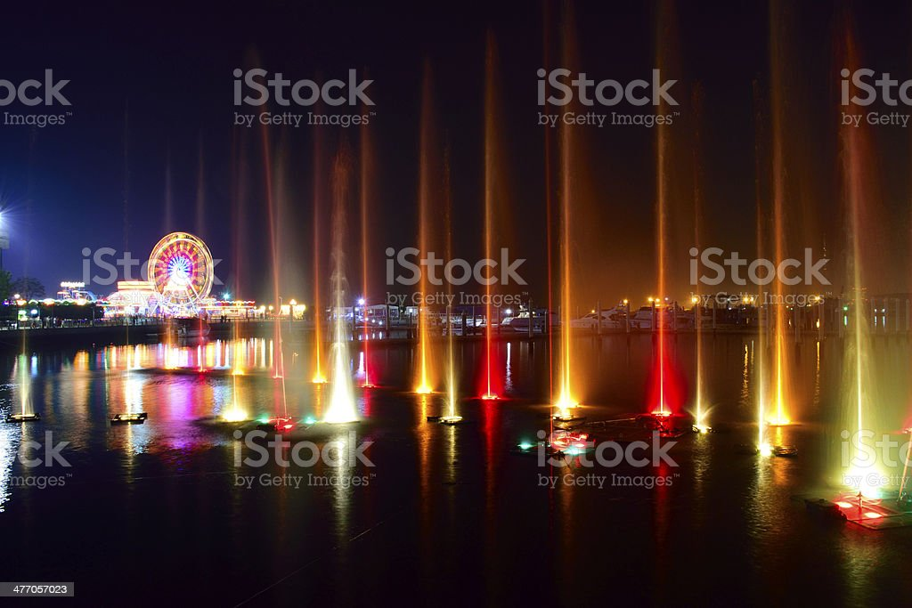 Colorful water & light show stock photo