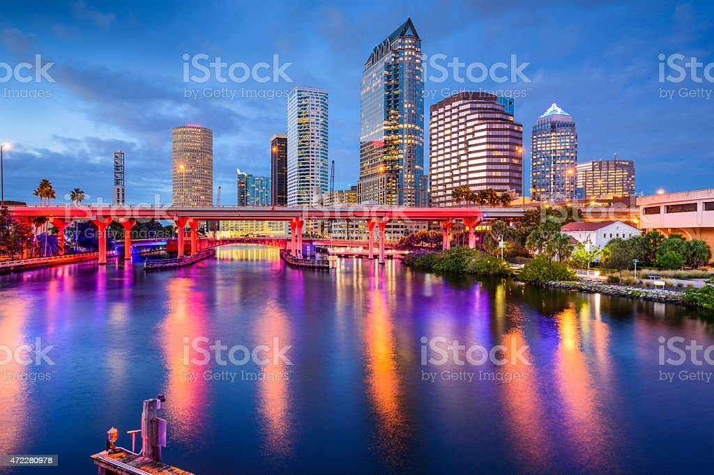 Colorful water reflection of Tampa Skyline in the afternoon stock photo