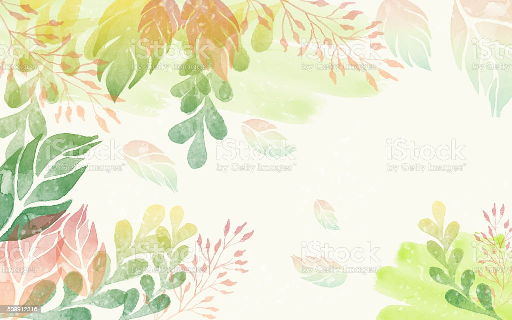 Colorful watercolor leaves background. stock photo