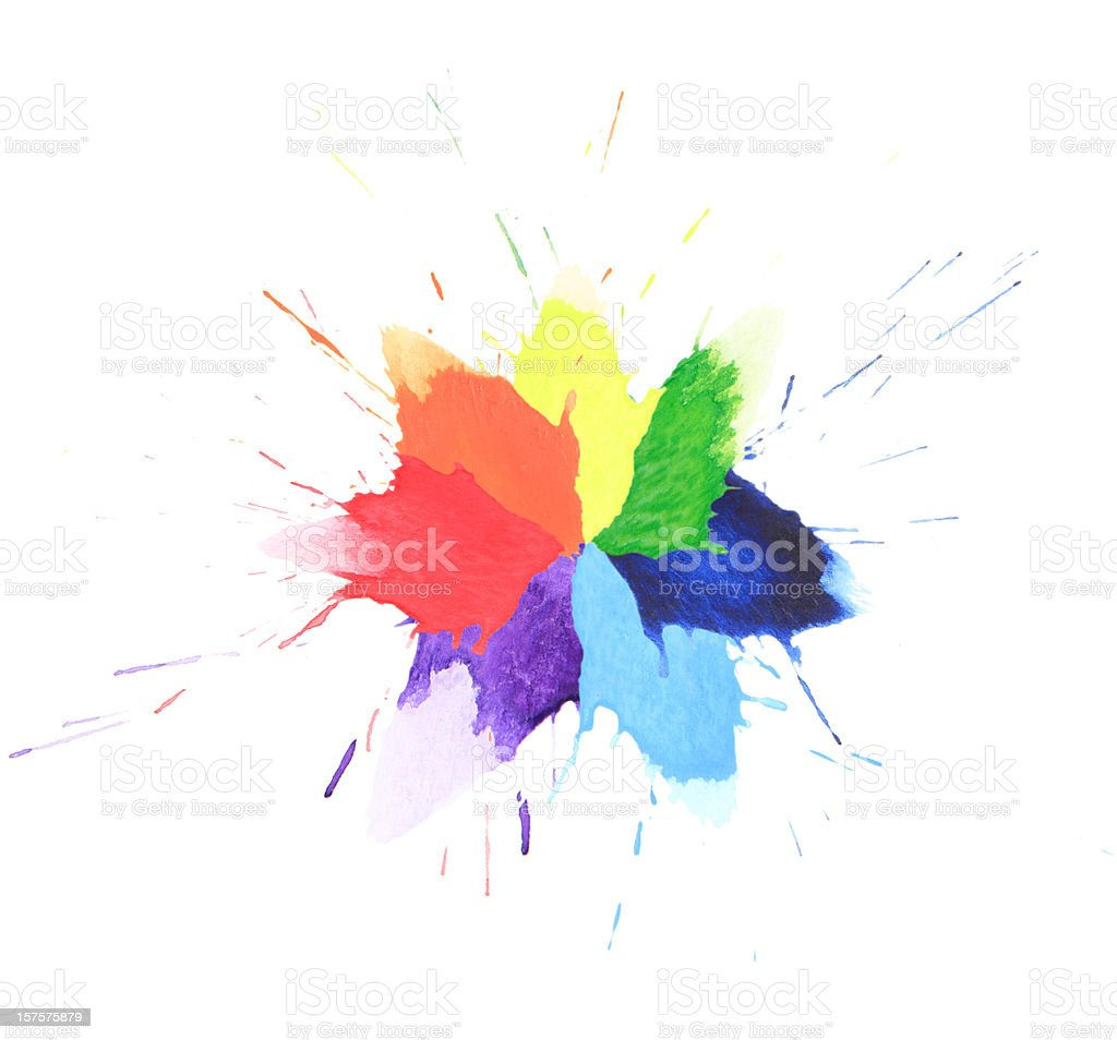 Colorful watercolor splash royalty-free stock photo
