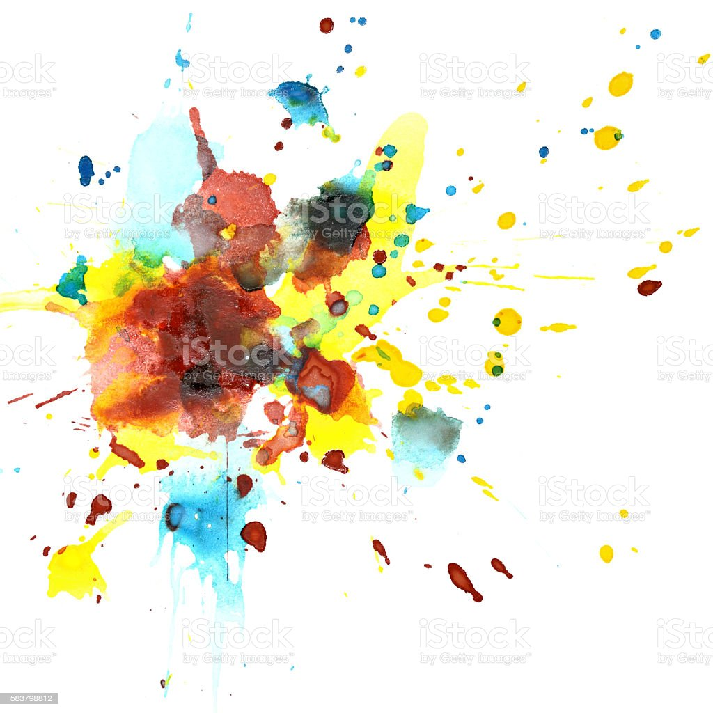 Colorful watercolor splashes stock photo
