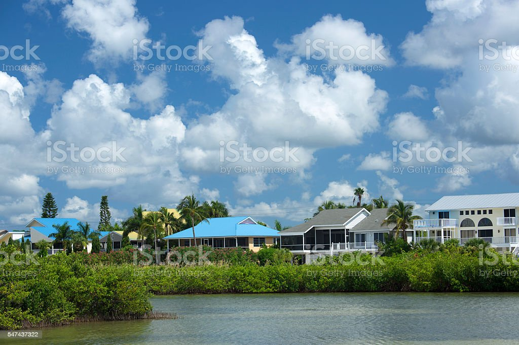 colorful waterfront homes on Fort Myers Beach, Florida, USA stock photo