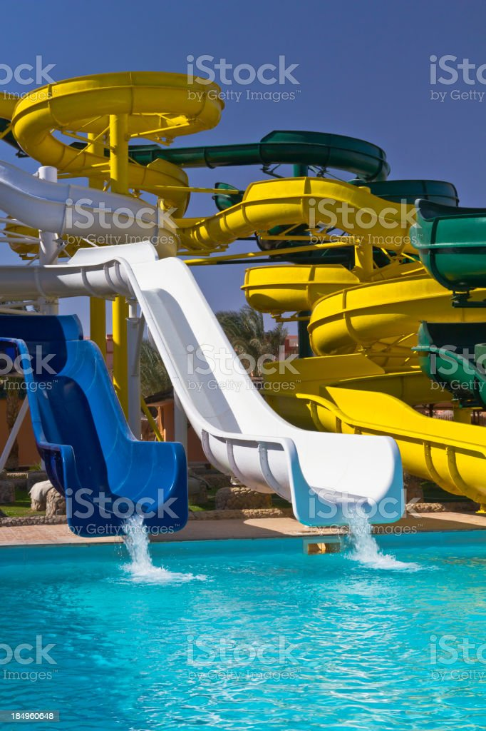 Colorful waterpark tubes royalty-free stock photo