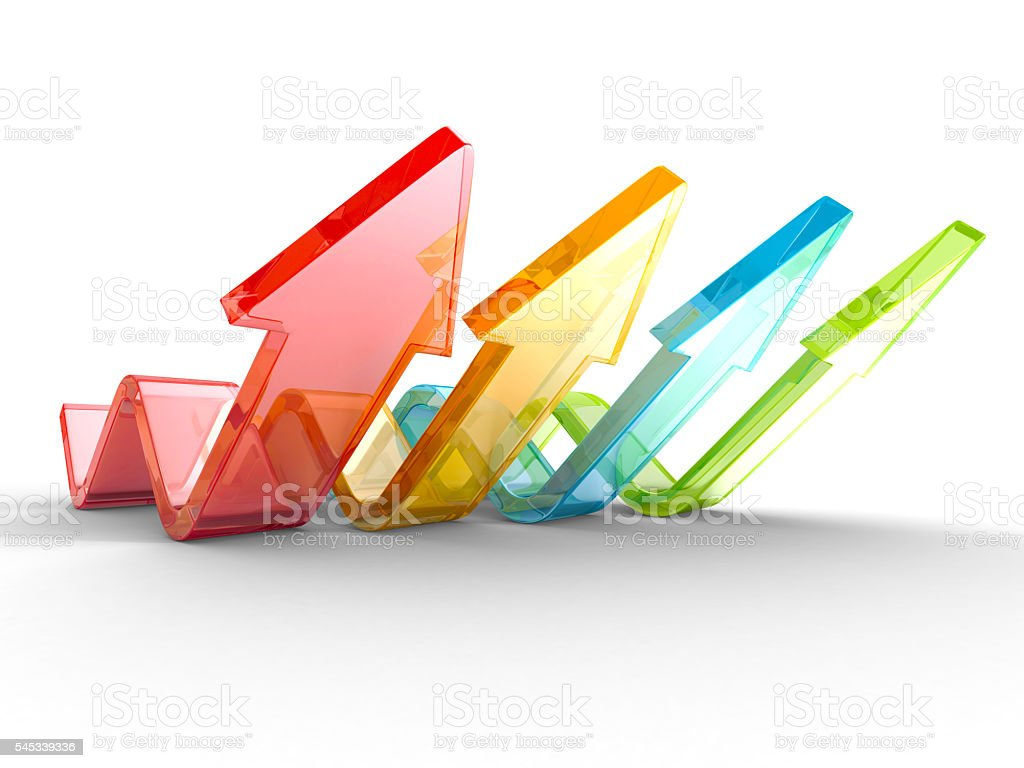 Colorful Wave Arrows Group. Teamwork Concept stock photo