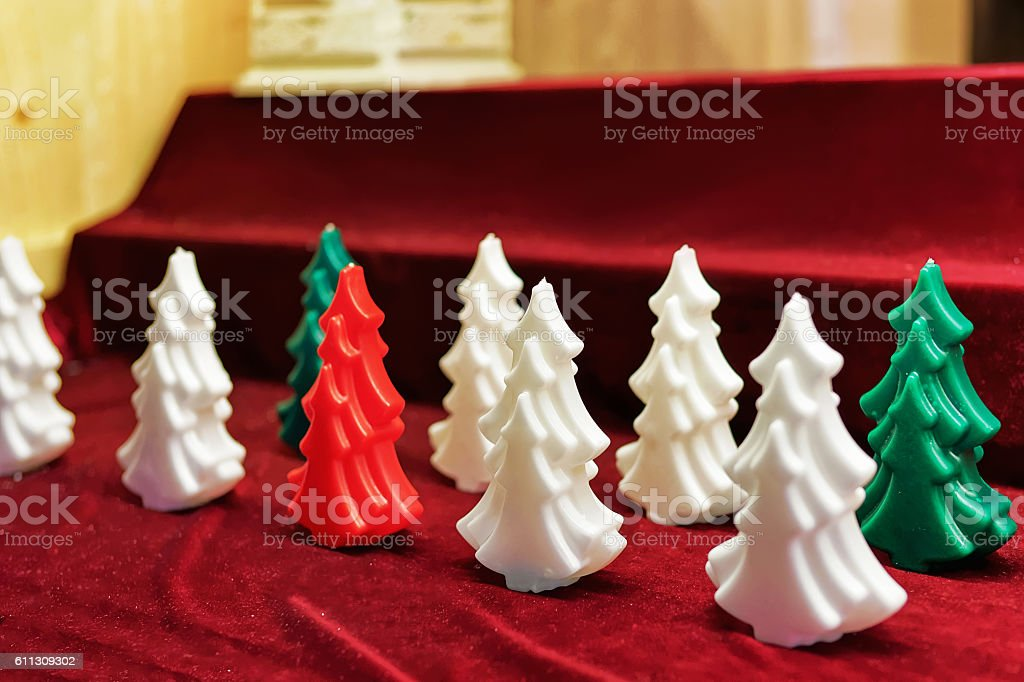 Colorful wax candles in Vilnius Christmas Market stock photo