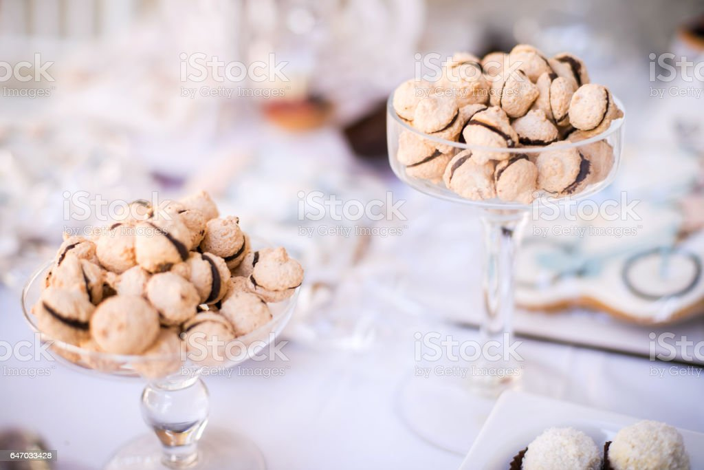 Colorful Wedding Candy Table with different goodies on display. stock photo
