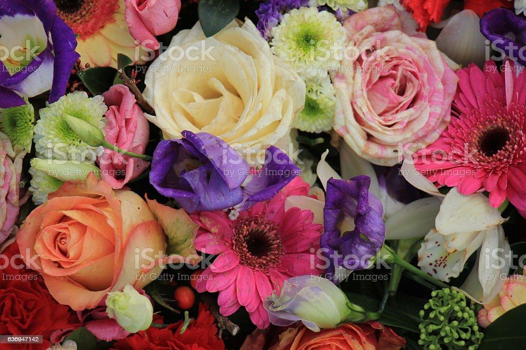 Colorful wedding flowers stock photo