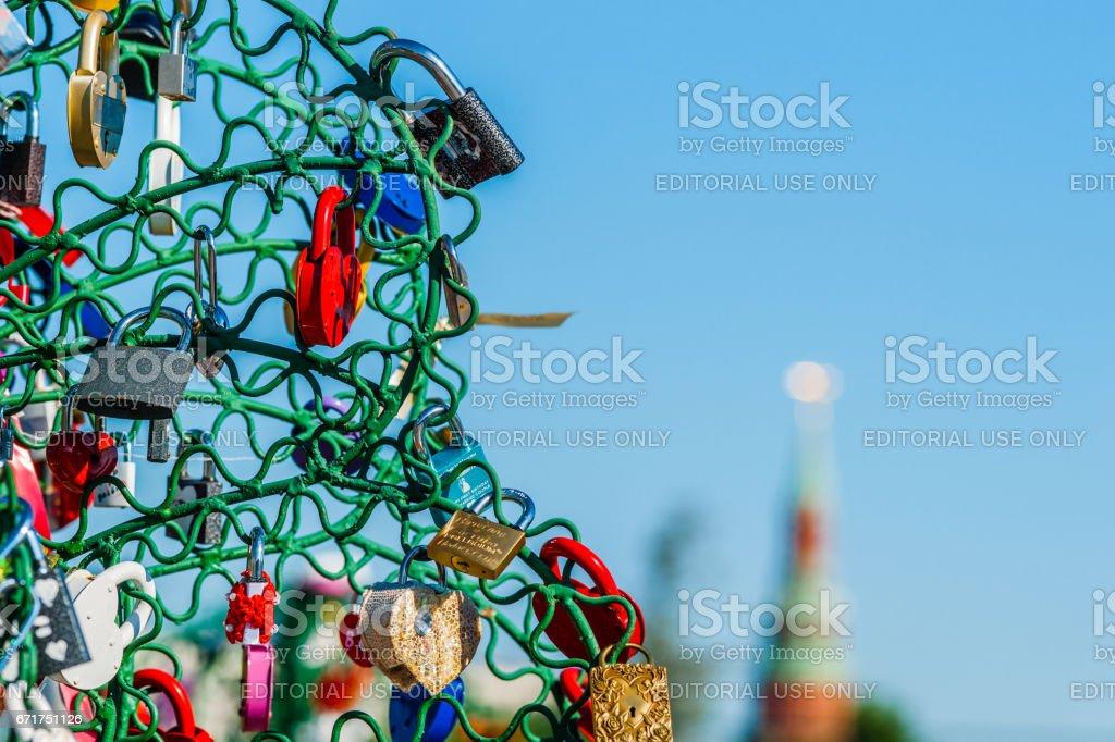 Colorful wedding padlocks stock photo