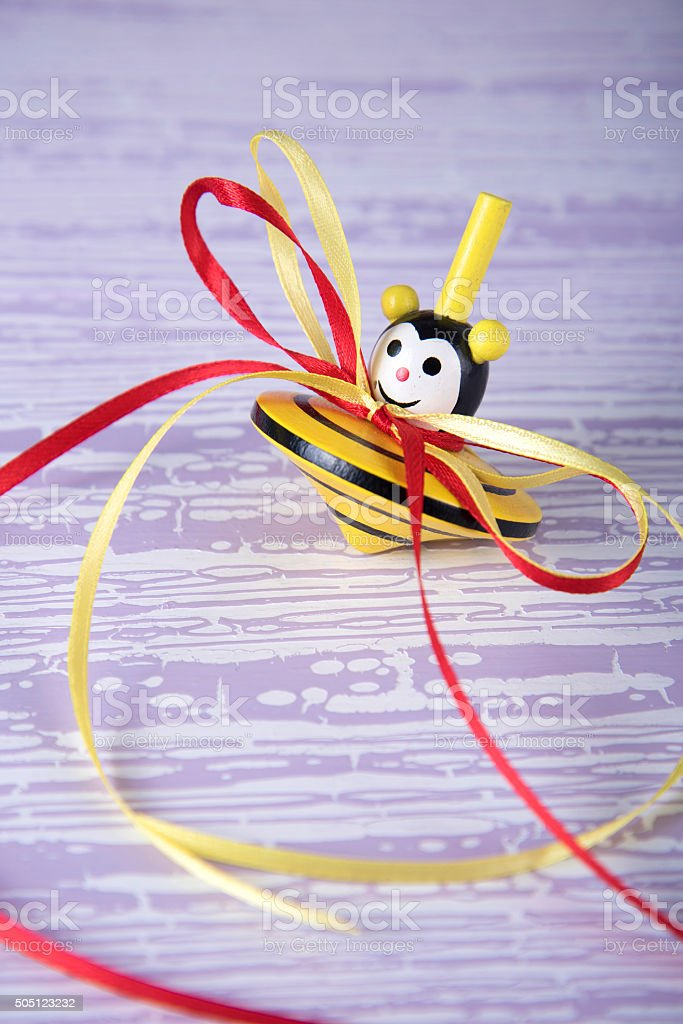 Colorful whirligig with ribbons stock photo