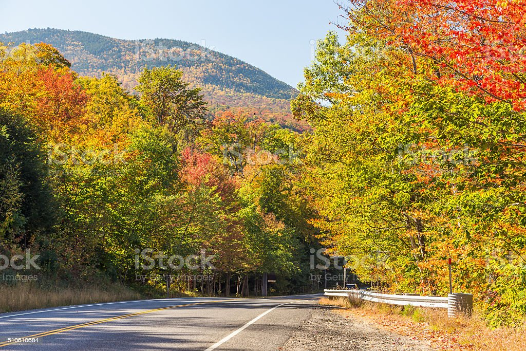 Colorful White mountain National forest in autumn stock photo