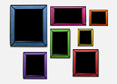 Colorful wicker wooden picture frame. on white wall