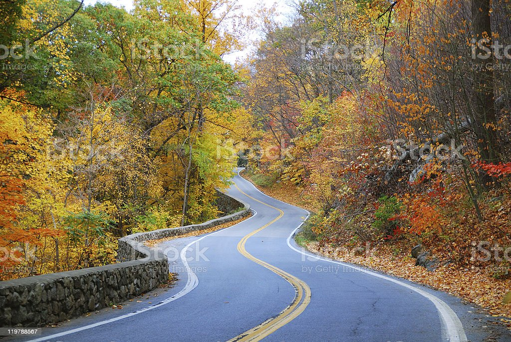 colorful winding Autumn road stock photo