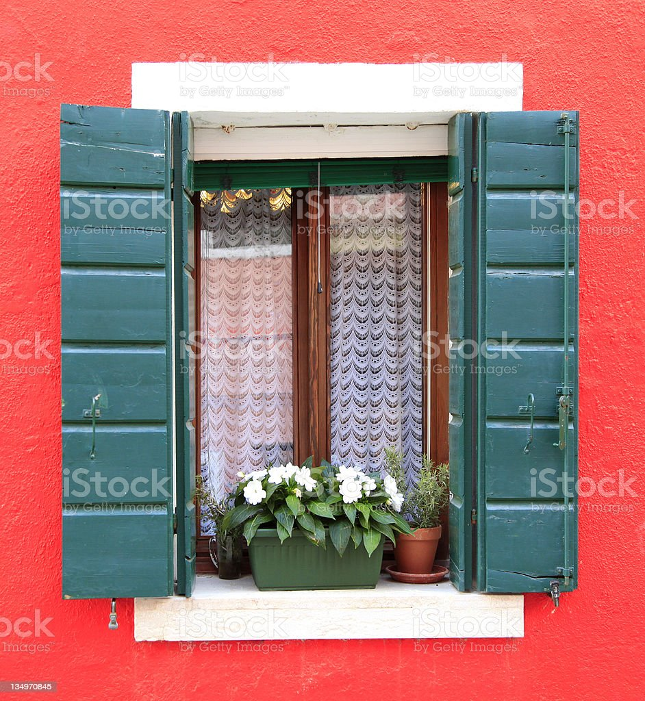 Colorful window in Burano royalty-free stock photo