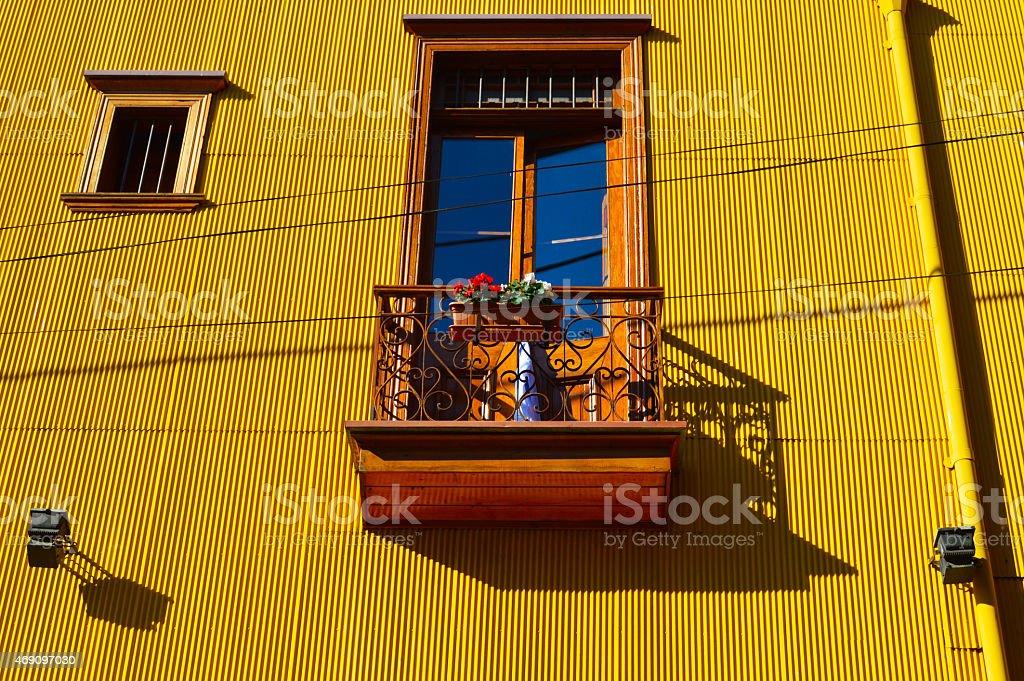 Colorful window in valparaiso stock photo