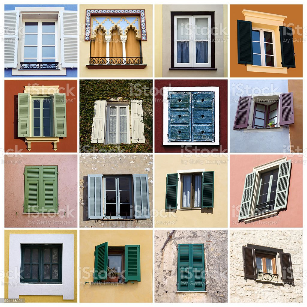 Colorful windows collage stock photo