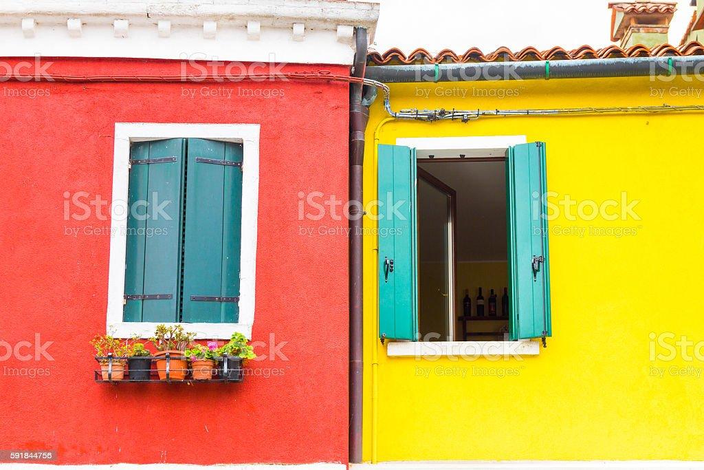 Colorful windows in Burano island, Italy stock photo