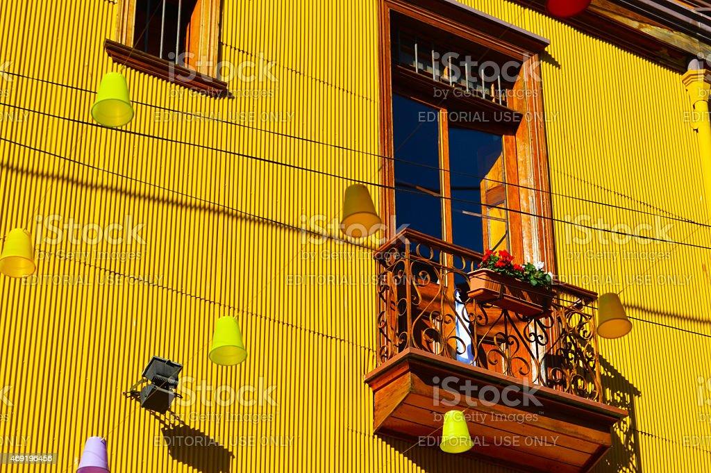 Colorful windows in Valparaiso stock photo