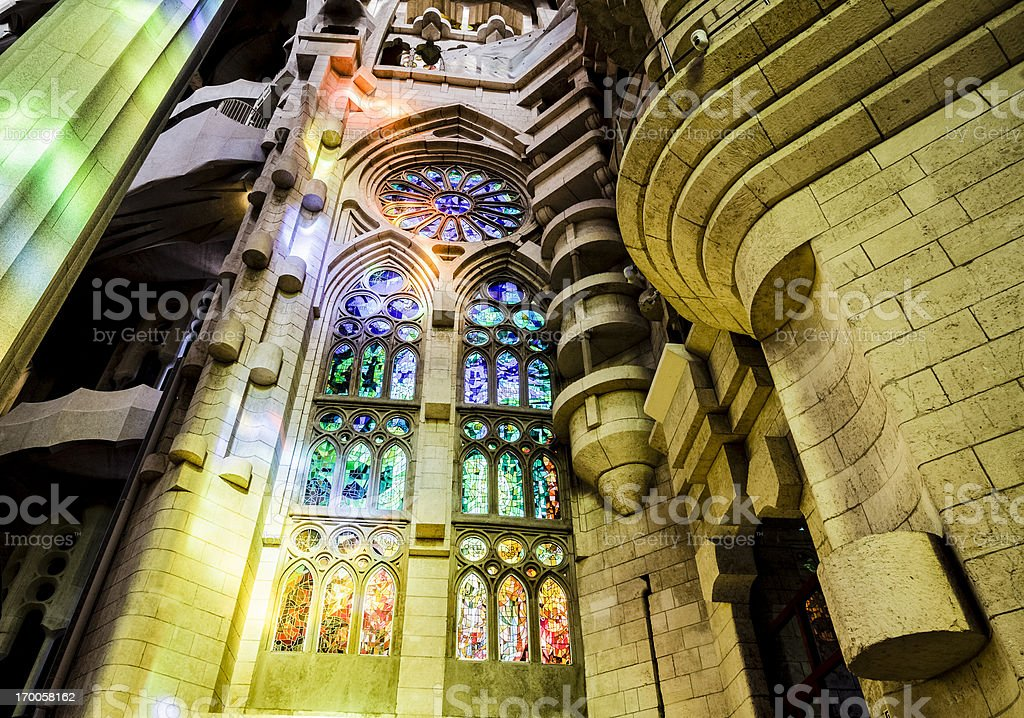 Colorful windows inside Sagrada Familia royalty-free stock photo